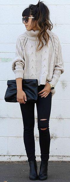 chunky sweater + skinny jeans