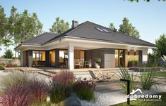 Bungalow House design with attic Miriam V, area with a spacious garage, with an envelope ro Bungalow House Plans, Dream House Plans, Modern Bungalow Exterior, Beautiful House Plans, Model House Plan, Village House Design, Facade House, Home Fashion, Modern House Design