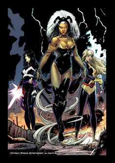 commission with favourite girls in Marvel Comics: Ororo, Psylocke, Magik lineart, ink and colors by Andrea Errico. Comic Art Community GALLERY OF COMIC ART Comic Book Characters, Marvel Characters, Comic Character, Comic Books, Comic Art, Fictional Characters, Marvel Now, Marvel Girls, Marvel Dc Comics