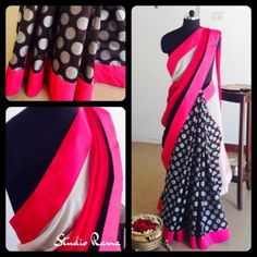 This stunning design combined with chic black and bright Pink colors is perfect for a casual day or night. The Polka dotted bottom (black) is in Banarasi Chanderi material and the Pallu (Pink & white) is in Chiffon. It comes with a black blouse in raw silk.