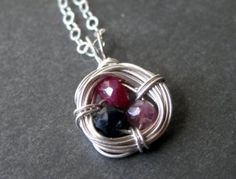 """custom mother's birthstone necklace """"Family Nest"""" made with genuine gemstones"""