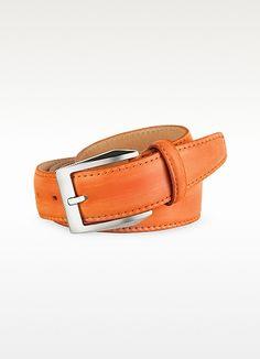 Pakerson Cintura uomo in pelle arancione dipinta a mano