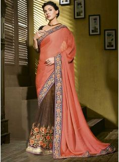 Classy Pink And Brown Georgette Embroidery Work Designer Saree. Available With Matching Designer Blouse. - See more at: http://www.angelnx.com/Sarees/Party-Wear-Sarees