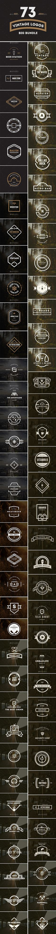 73 Vintage Labels & Badges Logos Bundle Template PSD | Buy and Download…