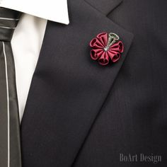 Lapel Pin/Bordeaux Flower Lapel Pin with Swarovski Silver Night Crystal/Lapel Flower/Mens Lapel Flower/Wedding Accessories/Brooch by BoArtDesign on Etsy