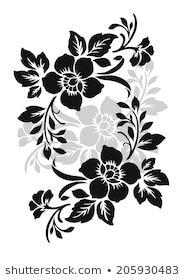 Similar Images, Stock Photos & Vectors of Flower design elements vector - 252583555 Flower Design Vector, Vector Flowers, Flower Designs, Drawing Stencils, Stencil Painting, Fabric Painting, Stencil Rosa, Rose Stencil, Flower Stencils