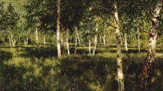 russian-painting:IsaacIlyichLevitan-Birch grove, (1885-1889).