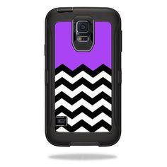 Skin Decal Sticker for OtterBox Defender Samsung Galaxy S5 Case Purple Chevron #MightySkins