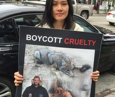 Canada Goose protest for using real coyote fur - claims only real fur protects against frostbite (but it's not that cold in Toronto & NYC!).  This isn't the arctic.