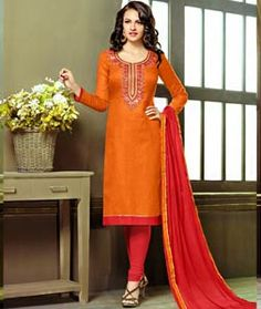 Buy Orange Cotton Jacquard Churidar Suit 71856 online at lowest price from huge collection of salwar kameez at Indianclothstore.com.
