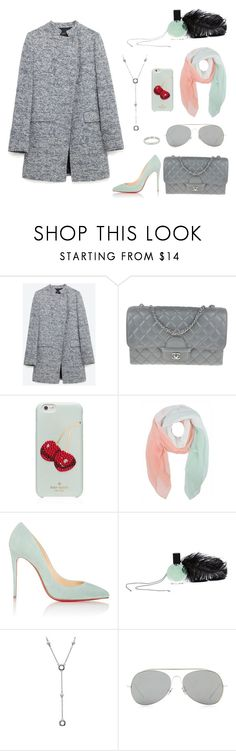 """""""Grey and Mint"""" by pear-drop ❤ liked on Polyvore featuring Zara, Chanel, Kate Spade, Christian Louboutin, L'Oeil du Vert, Tiffany & Co. and Acne Studios"""