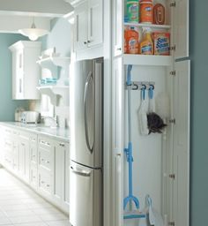 Furniture, Charming White Kitchen Cabinet With Adorable White Broom Storage Cabinet Wood Also Turquoise Wall Color