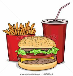 vintage signs of burgers & resturaunt foods | vector cartoon fast food combo - hamburger, french fries, soda - stock ...