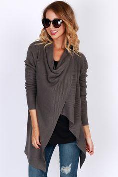 Knitty-Knitty Bang-Bang Draping Cardigan Charcoal