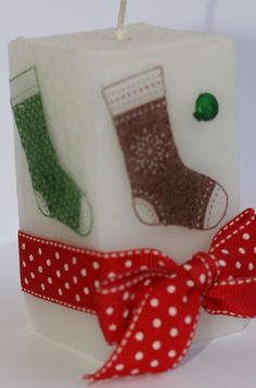 Designed by maryross: Vela de botitas, christmas candle, stitched stockings from stampin up, christmas gifts ideas