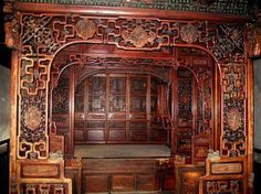 CHINESE LACQUERED WOOD AND GILT OPIUM BED the large bed fitted in elaborately carved - Google Search