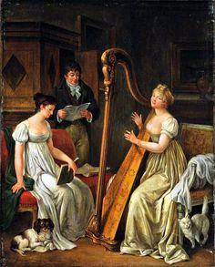 Follower of Marguerite Gérard - Elegant figures making music in an interior.