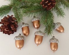 6 Real Acorn Christmas Tree Ornaments Bronze by FeistyFarmersWife, $9.00