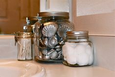 Silver seashells - ok Yep this is what I'm doing with the shells and putting them in my beach themed bathroom!