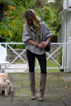 Casual fall/winter. Chunky sweater and camel boots.