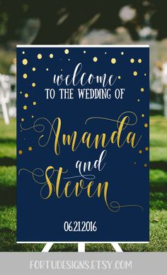Navy wedding welcome sign - Navy and gold confetti personalized wedding - Fairytale wedding decor