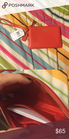 ❗️LAST CHANCE NWT watermelon Coach Wristlet Brand new with tags authentic Coach leather Wristlet in watermelon color. Fits iPhone 6 or 7 inside. Smoke free home. Super cute! Coach Bags Clutches & Wristlets