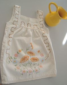 adc6e5b4d009a Baby Bebop 2T Girls Sundress Repurposed Vintage Dresser Scarf Off White  Cotton Fabric Embroidered Sunflowers