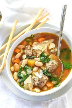 Slow Cooker Tuscan White Bean and Sausage Soup | foodiecrush.com