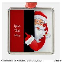 Personalized Red & White Santa Metal Ornament Holiday Cards, Christmas Cards, Christmas Decorations, Christmas Items, Holiday Festival, Holiday Treats, Christmas Card Holders, Hand Sanitizer, Silver Color