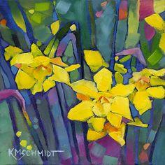 Just Landscape Animal Floral Garden Still Life Paintings by Louisiana Artist Karen Mathison Schmidt: Perennial Joy original abstract impress...