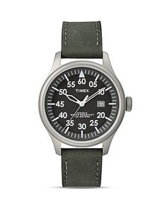 Timex Retro Vintage Leather Strap Watch, 42mm | Bloomingdale's