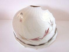 ON SALE Vintage Asian Bowls, Set of Two, Bamboo Leaf Pattern.