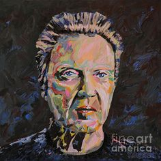 A portrait of the multi-talented actor, screenwriter, and filmmaker with a tremendous sense of humor, Christopher Walken. Acrylic on canvas.