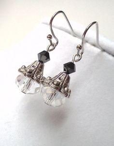 Elegant antique silver Swarovski earrings by PinkCupcakeJC on Etsy, $9.00