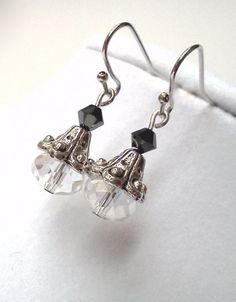 Elegant antique silver Swarovski earrings by PinkCupcakeJC on Etsy, $10.00