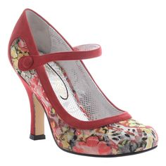 POETIC LICENCE FEMININE ENCOUNTERS Ankle Strap Floral Pump in RED