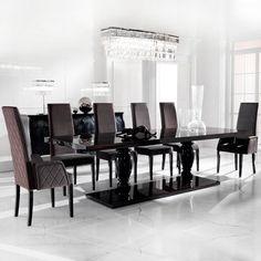 Large Ebony Dining Table Set
