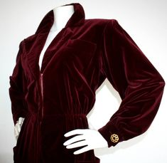 Important Vintage Yves Saint Laurent Le Smoking Burgundy Velvet Jumpsuit | From a collection of rare vintage suits, outfits and ensembles at https://www.1stdibs.com/fashion/clothing/suits-outfits-ensembles/