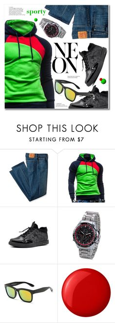 """""""NEON"""" by svijetlana ❤ liked on Polyvore featuring Levi's, Essie, men's fashion, menswear, neon, hoodie and rosegal"""