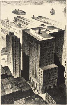 Louis Lozowick - Backyards of Broadway (1926)