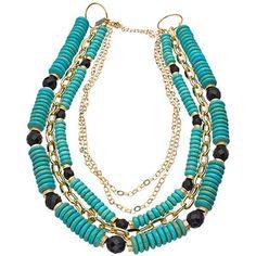 Turquoise & Black Multi Strand Necklace