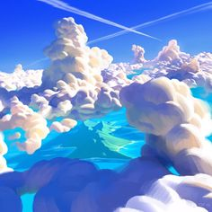Ocean Clouds by Thorsten Denk, digital, 2016 : Art Fantasy Landscape, Landscape Art, Fantasy Art, Environment Concept Art, Environment Design, Cloud Art, Cloud Drawing, Drawing Tablet, Sky And Clouds