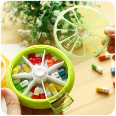 Home Furnishing Weekly 7 Days Rotate Pill Case Colorful Fruit Shape Portable Round Medicine Pill Box Alarm Kit Pink Green Orange  sc 1 st  Pinterest & Portable Daily PILL BOX 7 Day Weekly Medicine Medication Organizer ... Aboutintivar.Com