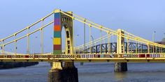 12 yarn bombs to put a smile on your face: andy warhol bridge in pittsburgh
