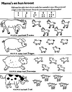 Look at the number noted under the mama-animal. Color as much as baby-animals as the number. Can you also say what animals and baby's that are? Farm Animal Crafts, Animal Projects, Math For Kids, Activities For Kids, Mickey Coloring Pages, Cute Kids Crafts, Kids Math Worksheets, Farm Theme, Activity Sheets