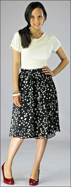 Mid-Length Print Skirt
