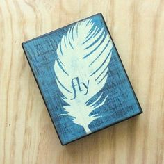 Feather wall art - Fly - Teal home decor