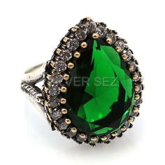 925 sterling silver hurrem sultan ring emerald green turkish handmade