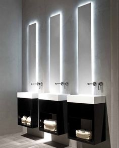 3 sinks - over the top.  I love the light behind the mirrors.