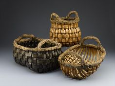 Phil & Gail Sellers  Baskets are woven clay with sculpted rims and handles.